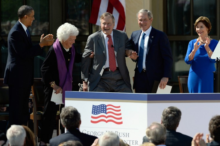 U.S. President Barack Obama, former first lady Barbara Bush, former President George H.W. Bush, former President George W. Bush and former first lady Laura Bush attend the opening ceremony of the George W. Bush Presidential Center. (Kevork Djansezian/Getty Images)