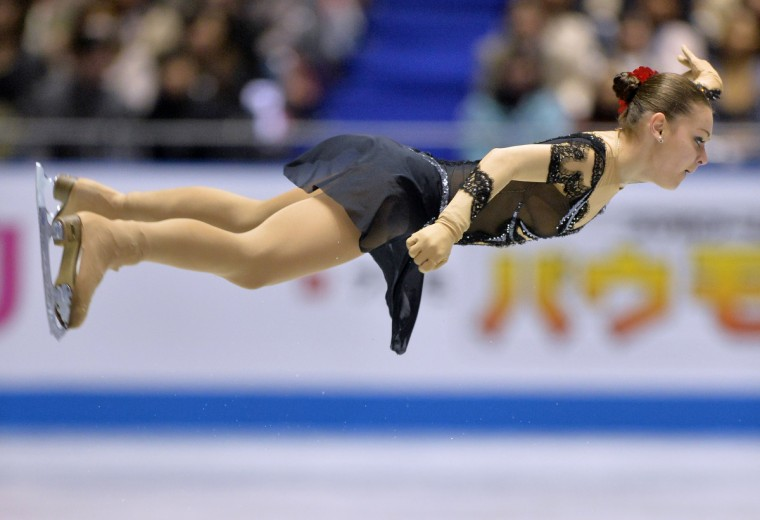 Russia's Adelina Sotnikova performs in the women's short program at the World Team Trophy figure skating competition in Tokyo. (Kazuhiro Nogi/Getty Images)