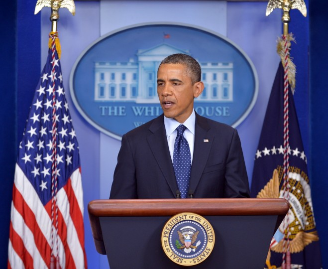 US President Barack Obama speaks on the Boston Marathon explosions on April 15, 2013 at the White House in Washington, DC. At least two people were killed and 23 wounded when two explosions struck near the finish line of the Boston Marathon, sparking scenes of panic, police said. (Mandel Ngan/AFP/Getty Images)