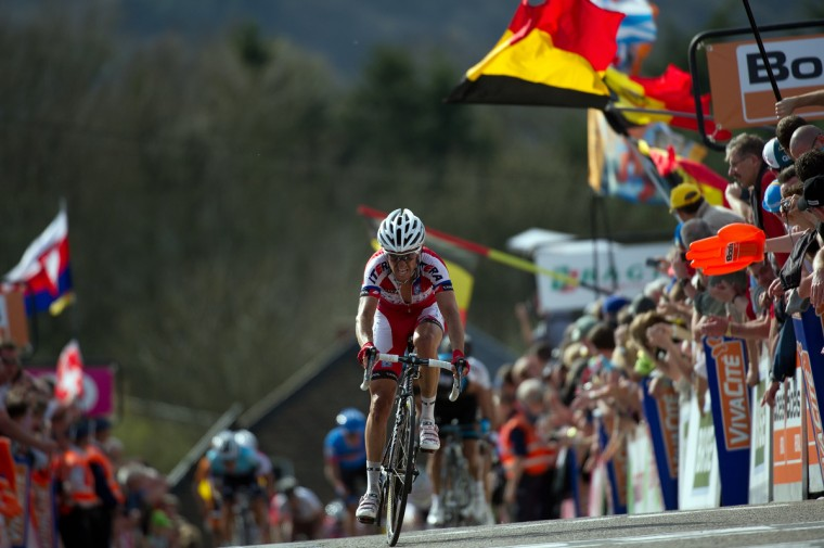 Spanish cyclist Daniel Moreno Fernandez rides to the finish line to win the 77th edition of the Fleche Wallonne one-day cycling race, 205 km from Binche to Huy. The 31-year-old - whose team leader Joaquim Rodriguez won last year - beat two Colombians Sergio Henao and Carlos Alberto Betancur to the line in the 205km race. (Lionel Boneventure/Getty Images)