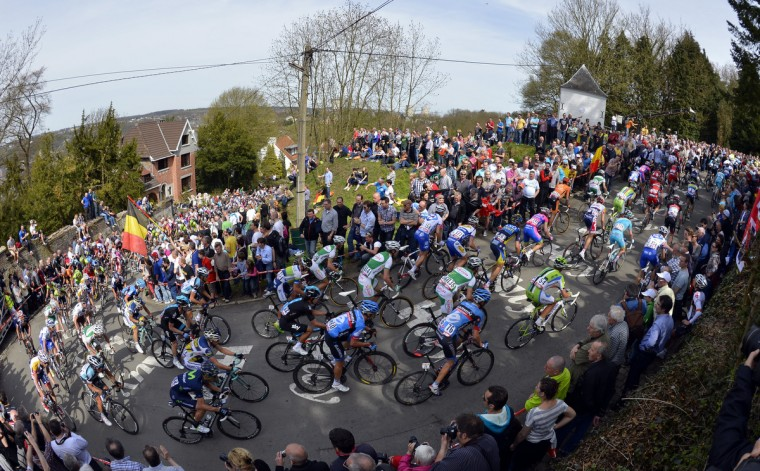 The pack climbs the Mur de Huy during the 77th edition of the 'La Fleche Wallonne' cycling race, 205km from Binche to Huy. (Eric Lalmand/Getty Images)