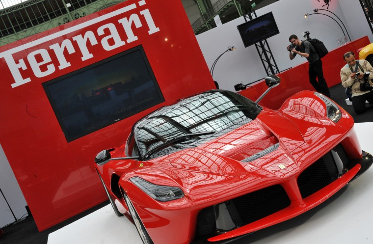 "The ""LaFerrari"" car build by Italian car maker Ferrari is on display during its presentation in Paris. The production of the new sports car is limited to 499 copies. (Pierre Andrieu/Getty Images)"