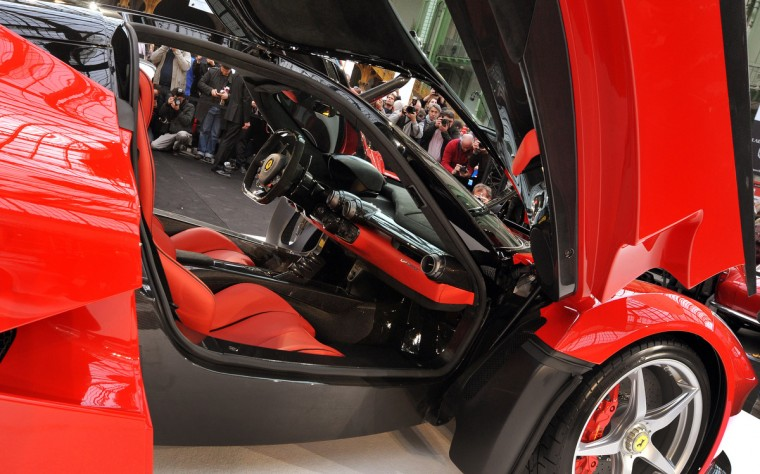 "The ""LaFerrari"" car build by Italian car maker Ferrari is on display during its presentation in Paris. (Pierre Andrieu/Getty Images)"