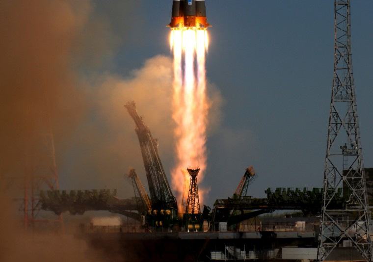 A Soyuz-2.1b carrier rocket, carrying a Bion-M satellite blasts off from a launch pad in the Russian leased Kazakhstan's Baikonur cosmodrome. Bion-M, part of the Russia's space program, is to conduct fundamental and applied research in space biology, physiology and biotechnology while in orbit, RIA-Novosti news agency reported. (Getty Images)