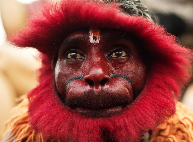 An Indian Hindu devotee dressed as a monkey takes part in a procession outside the Hanuman temple in New Delhi on the occasion of Hanuman Jayanti, the birthday of the Hindu monkey-god. Hanuman, known for his strength, is worshipped for his unyielding devotion to Lord Rama and is remembered for his selfless dedication to the diety. (Manan Vatsyayana/Getty Images)