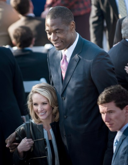 Former White House Press Secretary Dana Perino stands with former NBA Houston Rockets player Dikembe Mutombo before a dedication ceremony at the George W. Bush Library and Museum on the grounds of Southern Methodist University April 25, 2013 in Dallas, Texas. The Bush library is dedicated to chronicling the presidency of the United State's 43rd President, George W. Bush. (Brendan Smialowski/Getty Images)