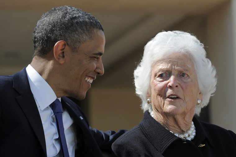 US President Barack Obama speaks with former First Lady Barbara Bush during the George W. Bush Presidential Center dedication ceremony in Dallas, Texas. (Jewel Samad/Getty Images)