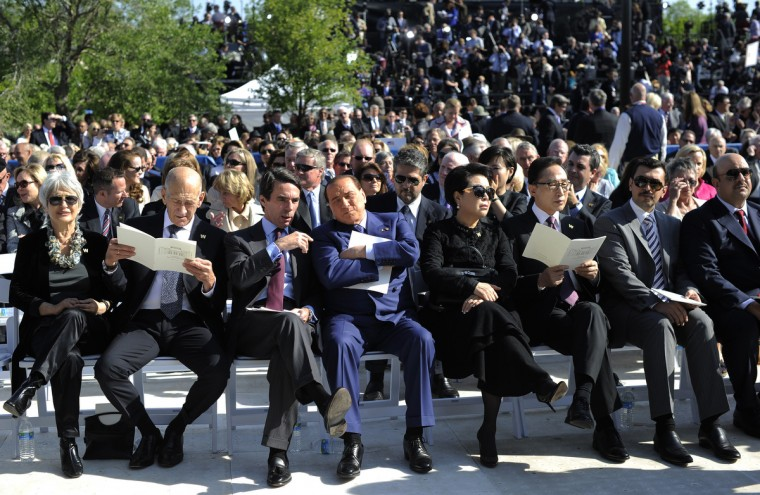 Former Prime Minister of Italy Silvio Berlusconi (C-blue suit) attends the George W. Bush Presidential Center dedication ceremony in Dallas, Texas. (Jewel Samad/Getty Images)