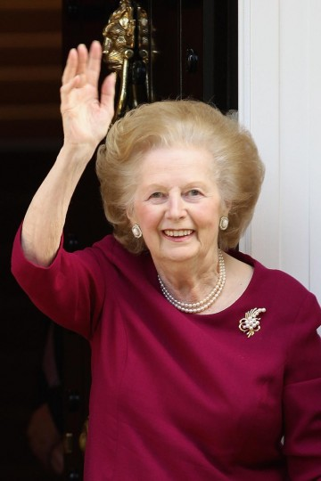 Former British Prime Minister, Margaret Thatcher waves to the press at her home after leaving Cromwell Hospital on November 1, 2010 in London, England. (Dan Kitwood/Getty Images)