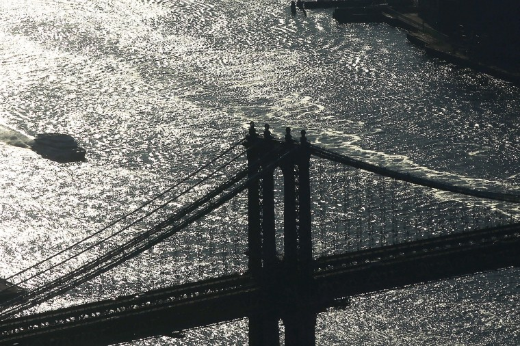 The Manhattan Bridge is seen from the One World Observatory. (Photo by Spencer Platt/Getty Images)