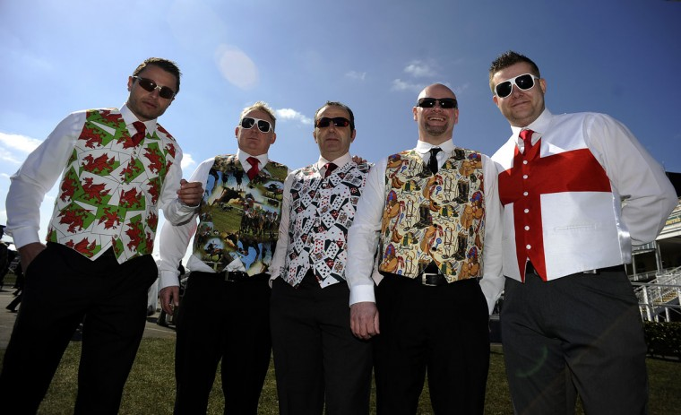 Gentlemen wear novelty waistcoats at Aintree racecourse on April 6, 2013 in Liverpool, England. (Alan Crowhurst/Getty Images)
