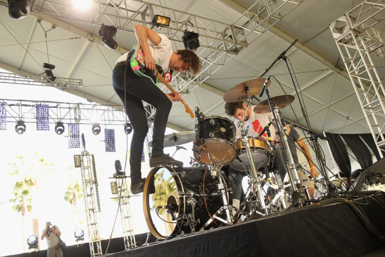 Musicians Brian King and David Prowse of Japandroids perform onstage during day 1 of the 2013 Coachella Valley Music & Arts Festival at the Empire Polo Club on April 12, 2013 in Indio, California. (Karl Walter/Getty Images for Coachella)