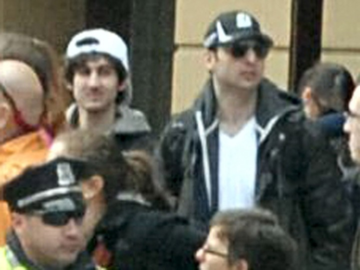 In this image released by the Federal Bureau of Investigation (FBI) on April 19, 2013, two suspects in the Boston Marathon bombing walk near the marathon finish line on April 15, 2013 in Boston, Massachusetts. The twin bombings at the 116-year-old Boston race resulted in the deaths of three people with more than 170 others injured. (Photo provided by FBI via Getty Images)