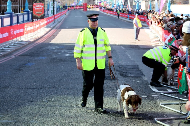 Police dog handlers on duty during the Virgin London Marathon. (Stephen Pond/Getty Images)