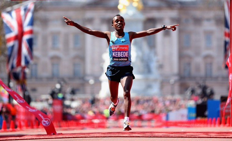 Tsegaye Kebede of Ethiopia wins the London Marathon. (Warren Little/Getty Images)