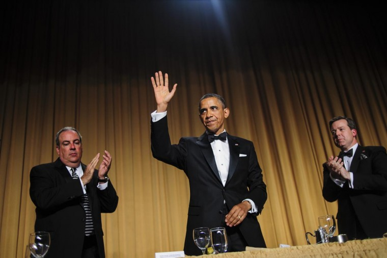 U.S. President Barack Obama acknowledges the audience folllowing his comedic address during the White House Correspondents' Association Dinner on April 27, 2013 in Washington, DC. The dinner is an annual event attended by journalists, politicians and celebrities. (Pete Marovich-Pool/Getty Images)