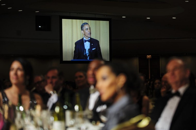 U.S. President Barack Obama tells jokes poking fun at himself as well as others during the White House Correspondents' Association Dinner on April 27, 2013 in Washington, DC. The dinner is an annual event attended by journalists, politicians and celebrities. (Pete Marovich-Pool/Getty Images)