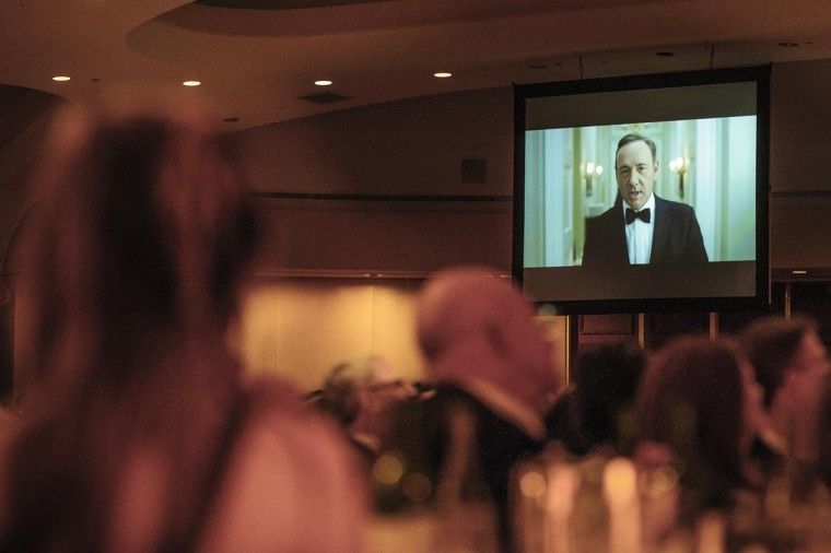"Actor Kevin Spacey appears on screen in a skit based on the hit show 'House of Cards"" during the White House Correspondents' Association Dinner on April 27, 2013 in Washington, DC. The dinner is an annual event attended by journalists, politicians and celebrities. (Pete Marovich-Pool/Getty Images)"