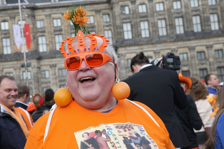 A man celebrates before the inauguration of King Willem Alexander of the Netherlands as Queen Beatrix of the Netherlands abdicates on April 30, 2013 in Amsterdam, Netherlands. (Chris Jackson/Getty Images)