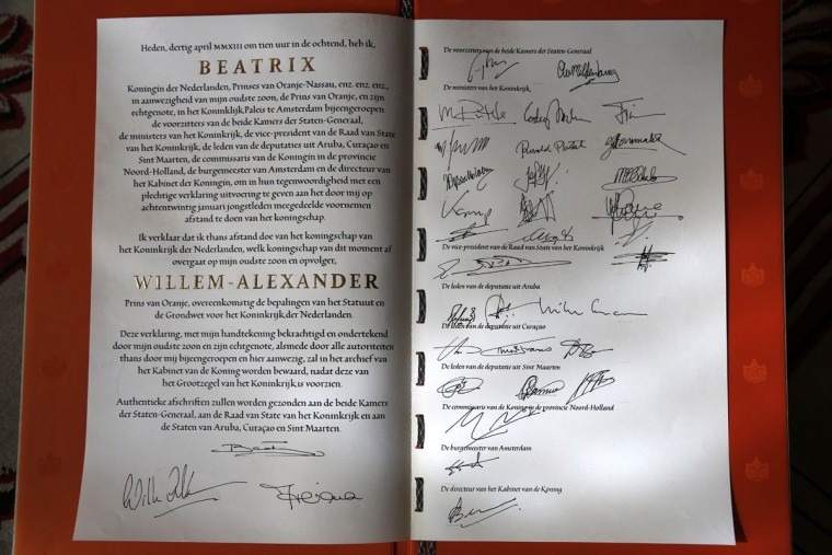 The Document of Abdication is displayed after the abdication ceremony of Queen Beatrix of the Netherlands in the Moseszaal at the Royal Palace on April 30, 2013 in Amsterdam. Queen Beatrix of the Netherlands is abdicating the throne after a 33 year reign and hands the throne to her son Prince Willem-Alexander who will be sworn in later at the Nieuwe Kerk ahead of a joint session of parliament. (Michel Porro - Pool/Getty Images)