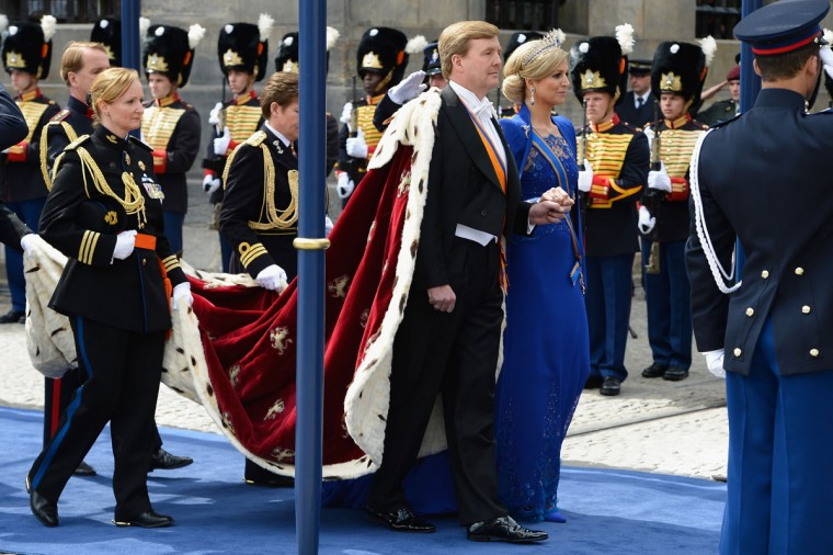 HM King Willem-Alexander of the Netherlands and HM Queen Maxima of the Netherlands arrive to Nieuwe Kerk church ahead of his inauguration ceremony in Amsterdam, Netherlands. (Pascal Le Segretain/Getty Images)