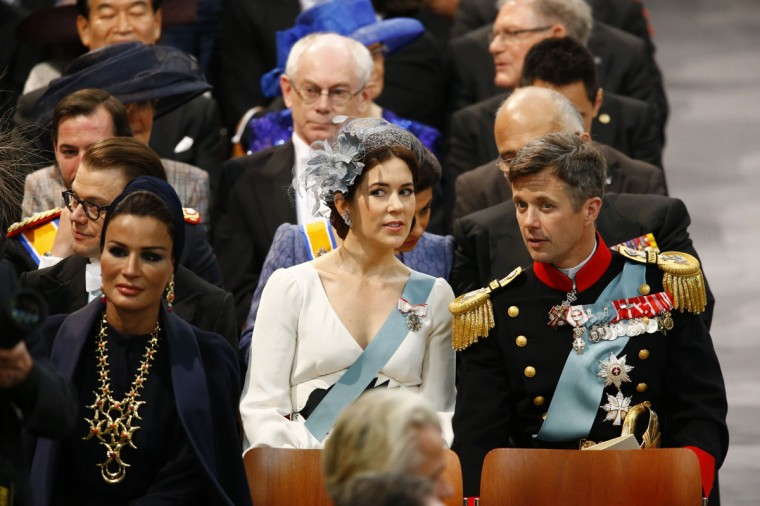 Sjeikha Moza bint Nasser al Misned of Qatar (left), Princess Mary of Denmark and Prince Frederik of Denmark attend the inauguration of HM King Willem Alexander of the Netherlands and HRH Princess Beatrix of the Netherlands at New Church on April 30, 2013 in Amsterdam. (Michael Kooren-Pool/Getty Images)