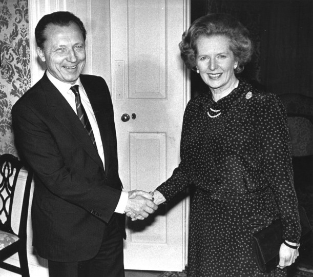 Margaret Hilda Thatcher greets President Elect of the European Communities, Jacques Delors, a French Politician, at Downing Street in London. (Keystone/Getty Images)