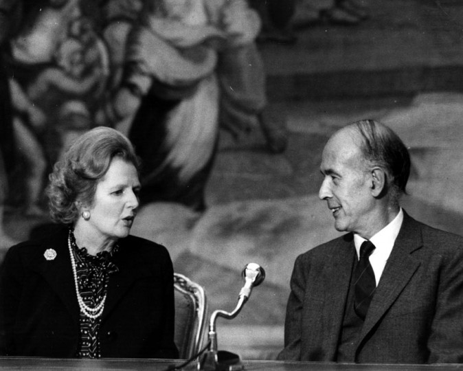 British Conservative Prime Minister, Margaret Thatcher, with French President Valery Giscard d'Estaing at a press conference Sept. 20, 1980. (Keystone/Getty Images)