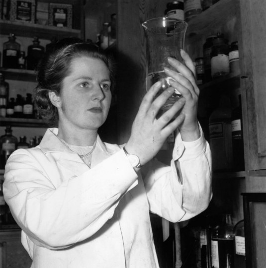 When not engaged in her political work in Dartford (Kent) where she is standing as Tory candidate, Miss Margaret Roberts, youngest candidate for the general election, is busy with her work as a research chemist. Margaret Roberts went on to become Prime Minister Margaret Thatcher. Photo taken January 24, 1950. (Chris Ware/Keystone Features/Getty Images)