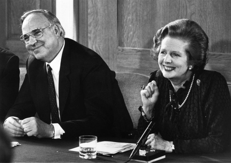British prime minister Margaret Thatcher and her German counterpart, Helmut Kohl, at a press conference at Number 12 Downing Street, London April 22, 1983. (Keystone/Getty Images)