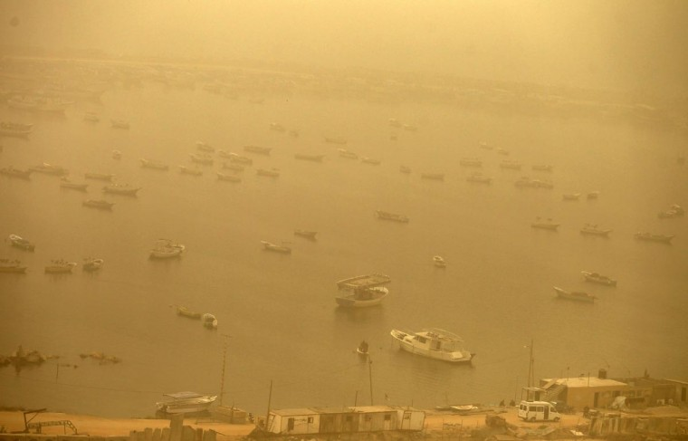 A general view shows the port in Gaza City during a dust storm on April 1, 2013. (Mohammed Abed/AFP/Getty Images)