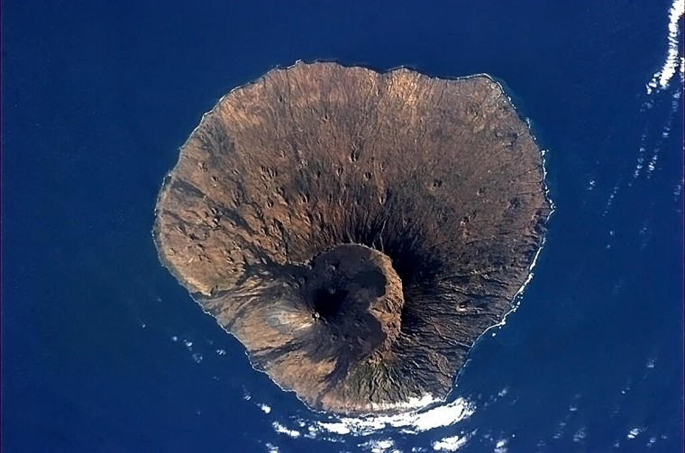 This NASA handout image captured by Canadian astronaut Chris Hadfield on board the International Space Station (ISS) on April 2, 2013, shows the inactive volcano in the Fogo National Park on Fogo, Cape Verde. (NASA HO - Chris Hadfield/AFP/Getty Images)