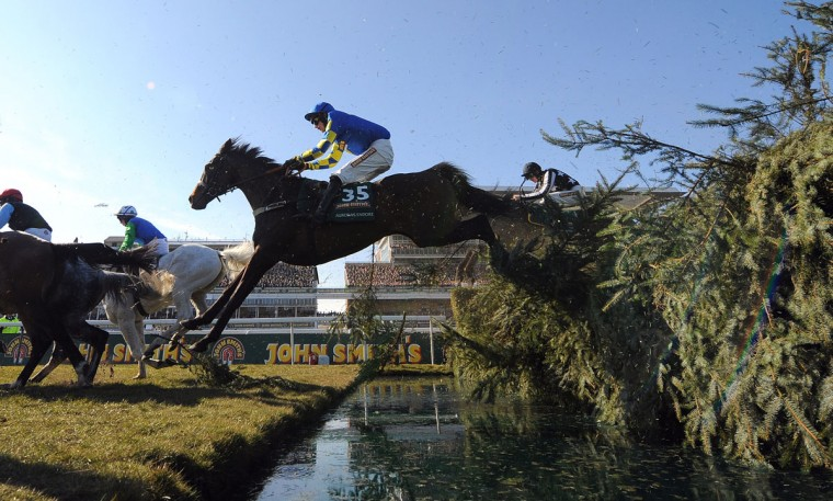 Auroras Encore, ridden by Ryan Mania, goes over the water jump during the Grand National horse race at Aintree Racecourse in Liverpool, north-west England, on April 6, 2013. The Grand National is run over a distance of four miles and four furlongs (7,242 metres), and is the biggest betting race in the United Kingdom. (Andrew Yates/AFP/Getty Images)