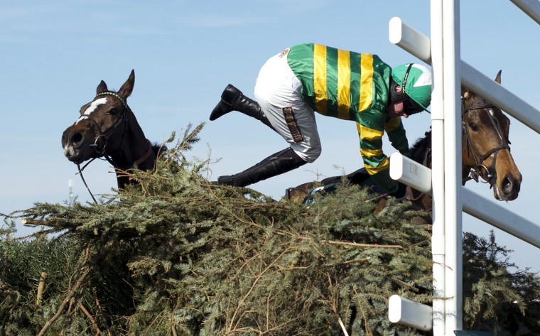Richie McLernon gets thrown from Sunnyhillboy at the last fence during the Grand National horse race at Aintree Racecourse in Liverpool, north-west England, on April 6, 2013. (Adrian Dennis/AFP/Getty Images)