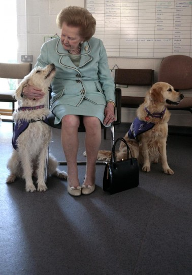 A picture dated June 2, 2009 shows former British Prime Minister Margaret Thatcher attending the opening of a new Canine Partners training accommodation building at the National Training Centre in Heyshott in West Sussex. (Shaun Curry/AFP/Getty Images)