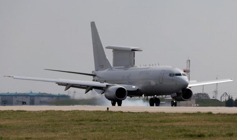 "South Korean Air Force's E-737 Peace Eye, airborne early warning and control (AEW&C) aircraft, lands at Gimhae airport in the southeastern port city of Busan on April 10, 2013. South Korean and US forces raised their alert status to ""vital threat"" on April 10, before an expected North Korean missile test, with tensions wound tight during a five-day buildup to a key anniversary. (Yonhapy via AFP/Getty Images)"