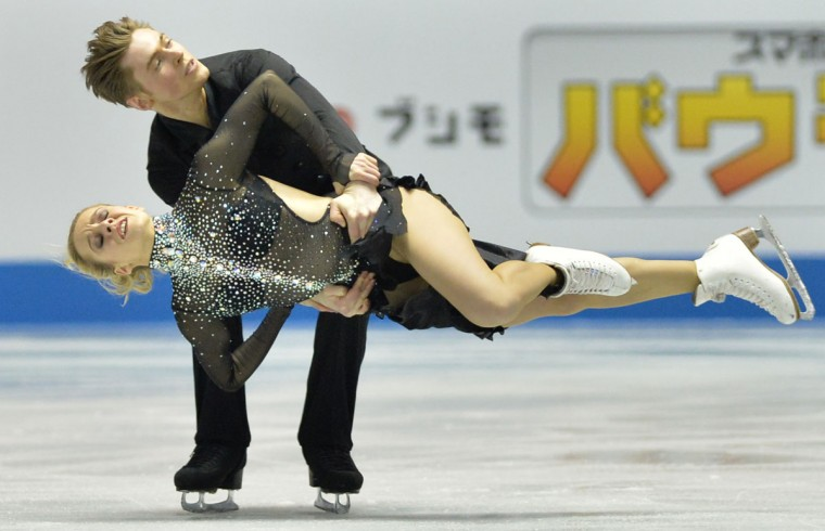 France's Pernelle Carron (bottom) and Lloyd Jones (top) perform in the Ice Dance - free dance at the World Team Trophy figure skating competition in Tokyo. (Kazuhiro Nogi/AFP/Getty Images)