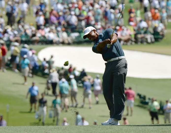 Tiger Woods of the US plays during the third round of the 77th Masters golf tournament at Augusta National Golf Club on April 13, 2013 in Augusta, Georgia. (Jewel Samad/AFP/Getty Images)