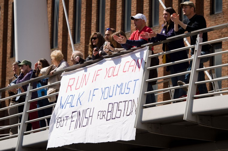 Spectators show support for Boston with a homemade sign. (Getty Images)
