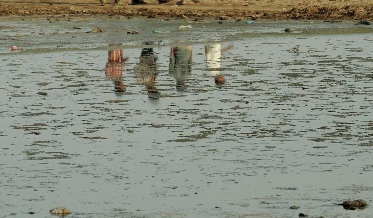 Indians are seen reflected in a polluted salt pan in Mumbai. Environmental groups are pushing for stronger forest and wildlife protection and conservation as April 22, 2013 marks World Earth Day. (Punit Paranjpe/AFP/Getty Images)