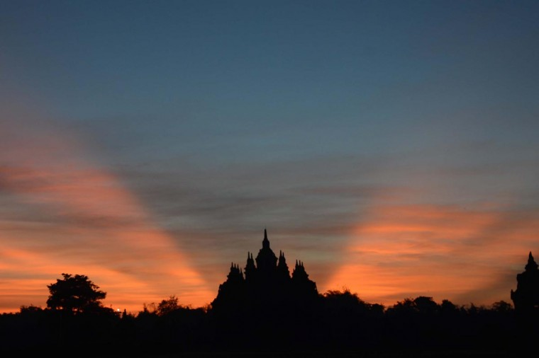 Sun rays beam at dawn over the Plaosan Buddhist temple on April 26, 2013 located in the Klaten regency in Indonesia's central Java province. According to historians, the ancient Buddhist temple was built around the 9th century near the renowned Hindu Prambanan temple complex in the early periods dominated by Buddhist and Hindu dynasties until Islam spread to Java island in the 15th century. (Tarkko Sudiarno/AFP/Getty Images)