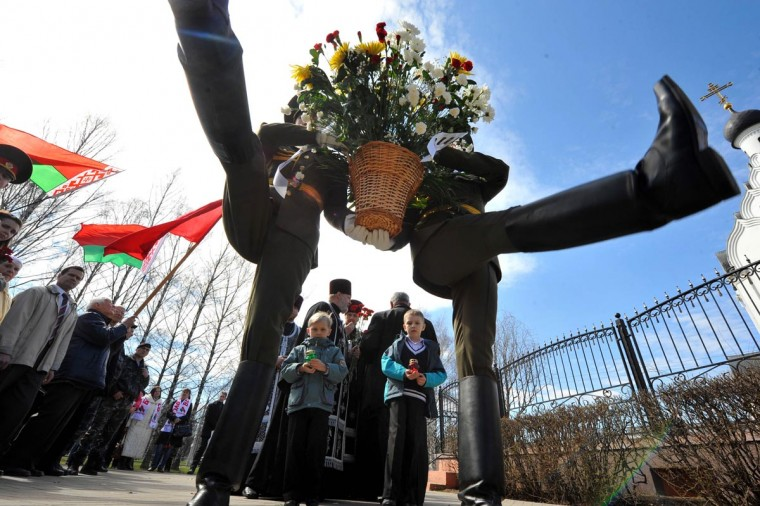 Honor guards lay flowers at the Chernobyl victims' memorial in the Belarus capital Minsk on April 26, 2013. The world marked today the 27th anniversary of the world's worst nuclear disaster at Chernobyl nuclear pant in Ukraine. (Viktor Drachev/AFP/Getty Images)