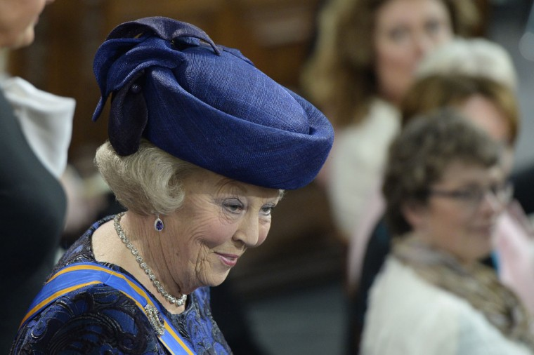 Princess Beatrix of the Netherlands arrives to attend the inauguration ceremony for King Willem-Alexander of the Netherlands at Nieuwe Kerk (New Church) in Amsterdam. (Robin Utrecht/AFP/Getty Images)