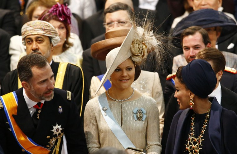 Spain's Crown Prince Felipe, Sweden's Crown Princess Victoria and Qatar's Sheikha Moza bint Nasser al Misned await the start of the inauguration of King Willem-Alexander at Nieuwe Kerk or New Church in Amsterdam on April 30, 2013. (Michael Kooren/AFP/Getty Images)
