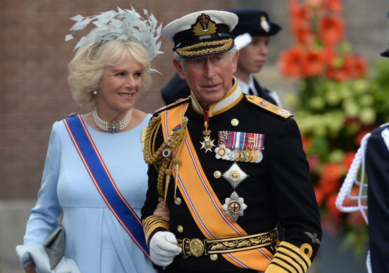 Britain's Prince Charles of Wales and his wife Camilla, Duchess of Cornwall leave the Nieuwe Kerk in Amsterdam after attending the investiture of King Willem-Alexander of the Netherlands. (Patrik Stollarz/AFP/Getty Images)