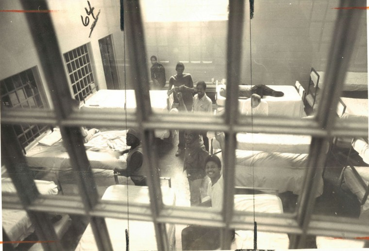 Because of overcrowding, offficals at the city jail in 1976 were forced to use recreation areas like this dayroom to house detainees. (William Hotz/Baltimore Sun)