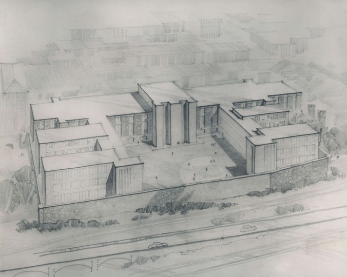 A rendering of the new Baltimore City jail is shown in 1961. (Baltimore Sun File Photo)