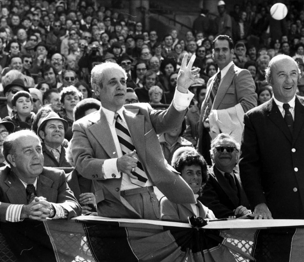 1973: Gov. Mandel threw out the first ball as the Orioles opened their season on April 7, 1973. (Baltimore Sun)