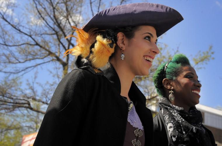 Thea Elisabeth Curley of Timonium and Britney Myer of Dundalk take in the performances. (Karl Merton Ferron/Baltimore Sun photo)