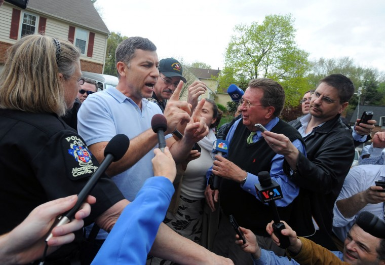 Ruslan Tsarni, second left, an uncle of the suspected Boston Marathon bombers, spoke the news media from his home in Maryland. (Kenneth K. Lam/Baltimore Sun Photo)